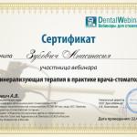Сертификат Зубович Анастасия